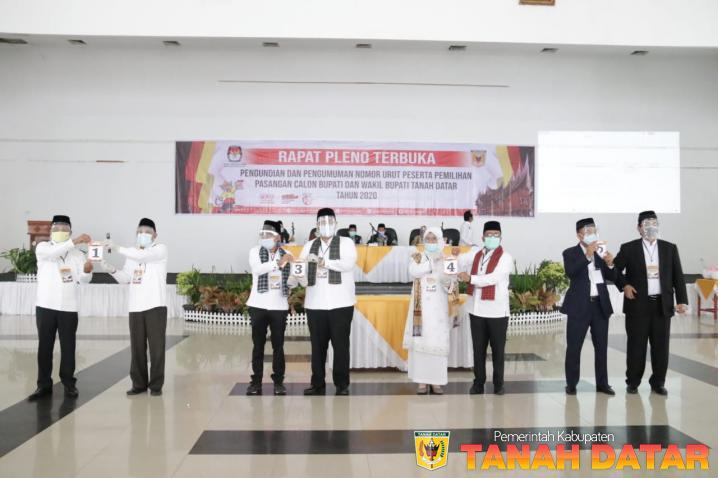 KPU TANAH DATAR GELAR PARIPURNA PENGUNDIAN DAN PENGUMUMAN NOMOR URUT PASLON BUPATI DAN WAKIL BUPATI 2021-2026