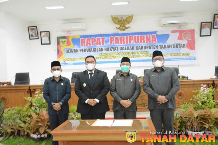 Paripurna DPRD Terima LPjP APBD Kabupaten Tanah Datar Tahun 2020